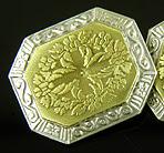JR Wood elegantly engraved platinum and gold cufflinks. (J9367)