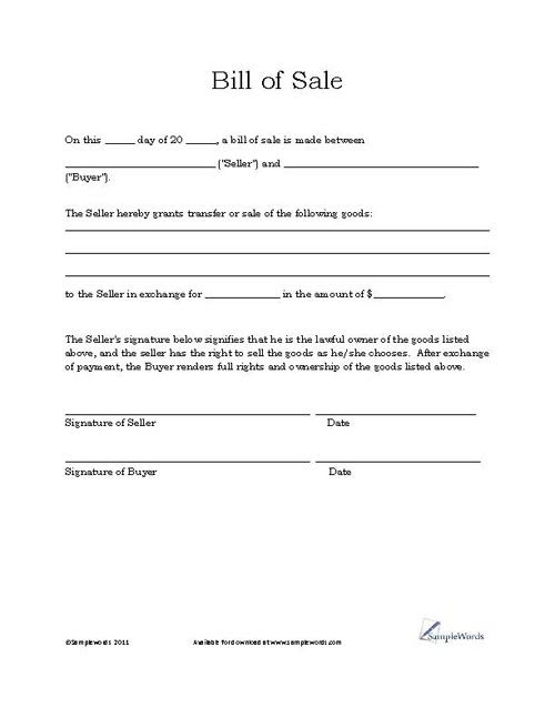 Basic Bill of Sale Form - Printable Blank Form Template | Real ...