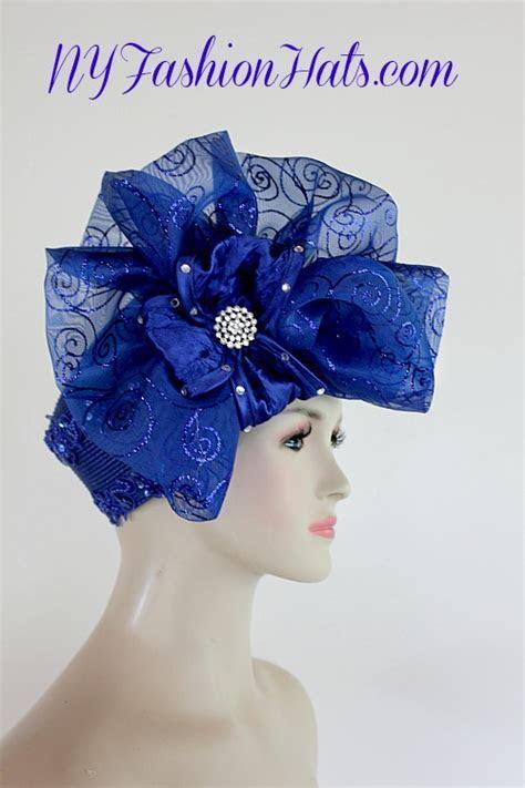 Royal Blue Big Bow Pillbox Cocktail Hat Wedding Bridal