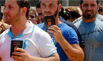 ιρακινοί χριστιανοί που έφθασαν στο λίβανο για προστασία