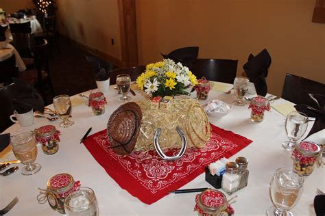 Cowboy western table decorations centerpieces baby shower