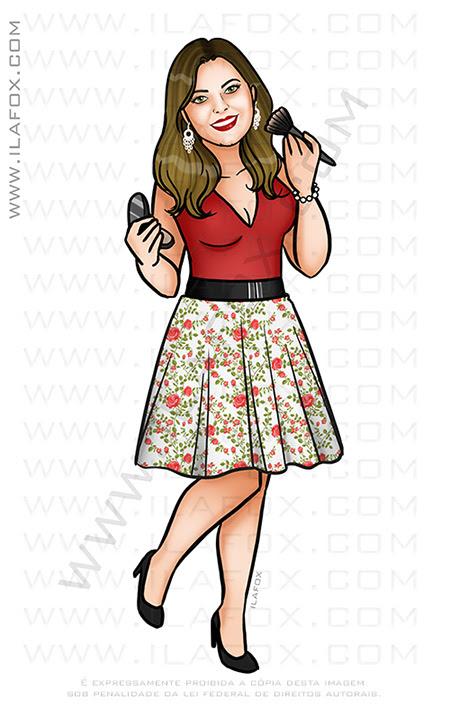 caricatura personalizada, caricatura maquiagem, caricatura mulher, caricatura bonita, caricatura mulher, by ila fox