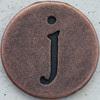 Copper Lowercase Letter j