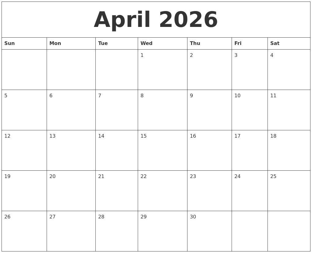 april 2026 free calander
