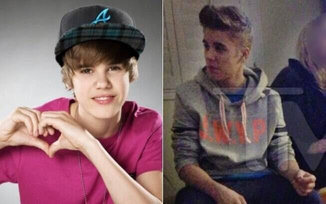 Antes e depois: Justin Bieber em 2008, no início da carreira, e no começo de 2013, quando foi flagrado fumando maconha em uma festa