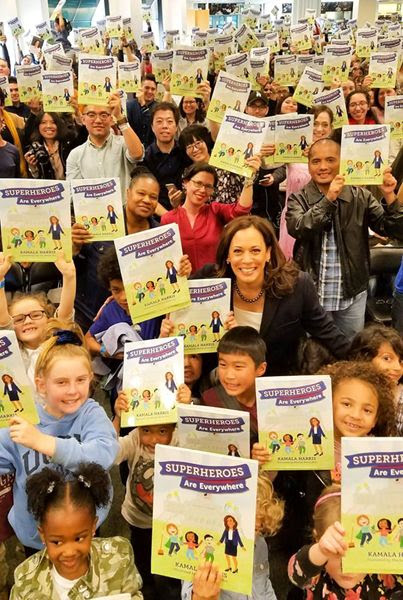 U.S. Senator Kamala Harris takes part in a group photo before the reading and signing of her new book SUPERHEROES ARE EVERYWHERE inside Barnes & Noble bookstore at The Grove in Los Angeles...on January 13, 2019.
