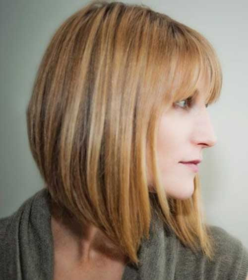 22. Honey Colored Angled Bob Hairstyle with Bangs | Haircuts