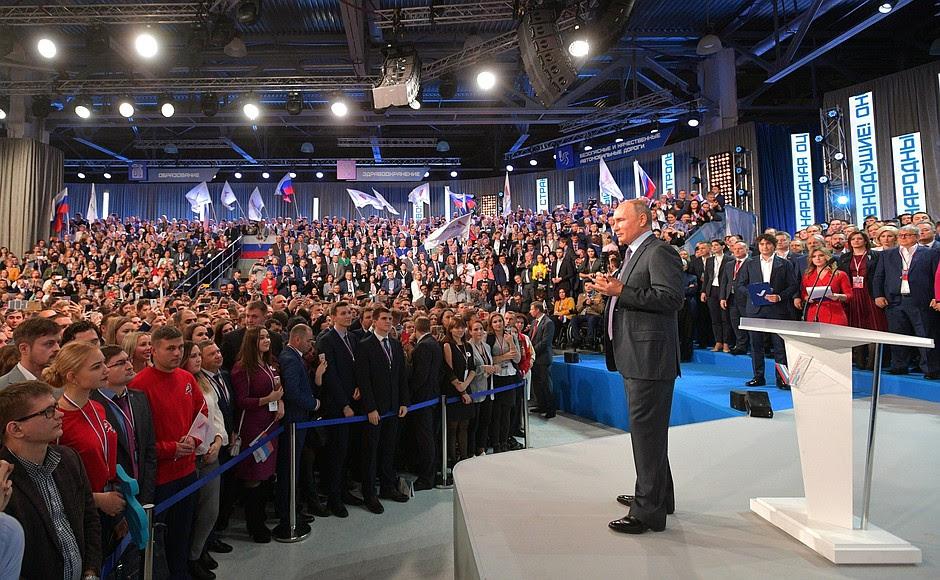 Al congresso del Fronte popolare all-russo.