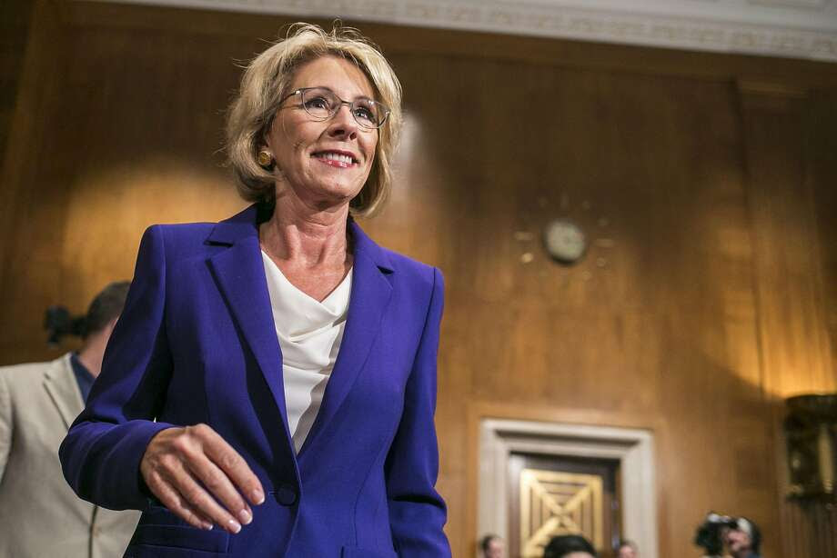 DeVos ekes out confirmation win as Pence casts historic vote  SFGate