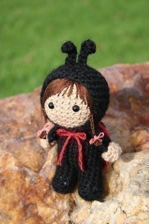 Crochet Pattern- Laura Beth dressed as a ladybird amigurumi doll