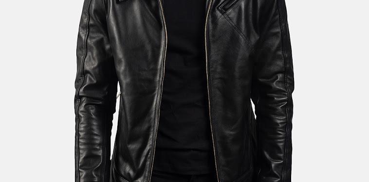 Black Leather Biker Jacket Mens