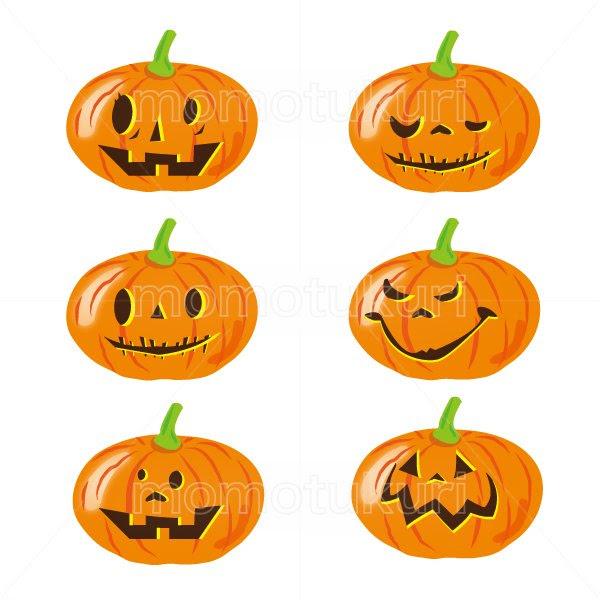 99円から390円素材sozaiハロウィン かぼちゃ イラスト6個セット 13