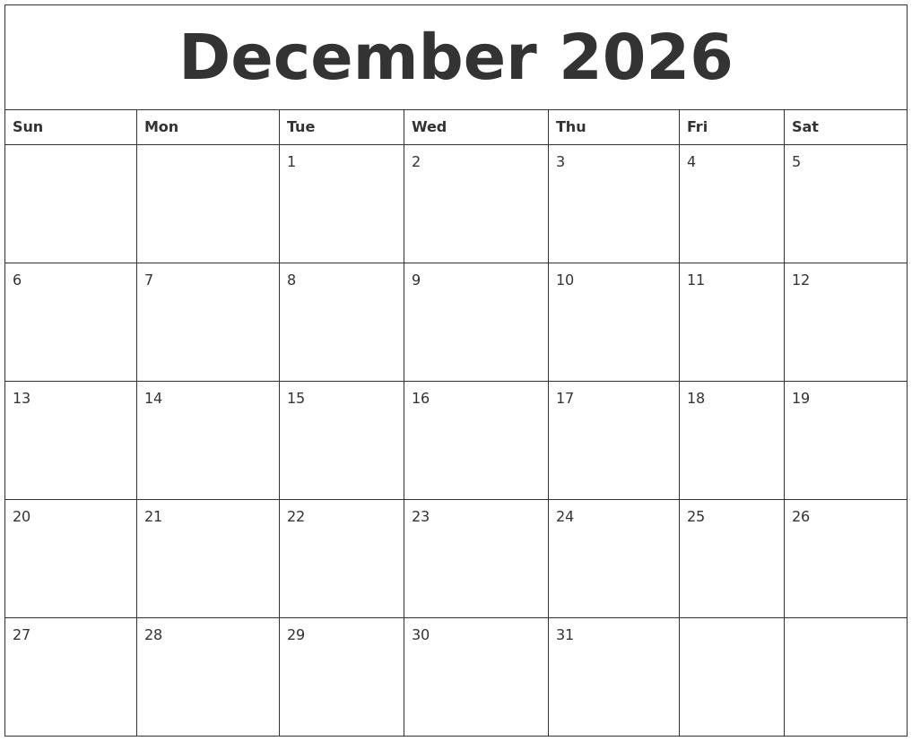 december 2026 printable calendar templates