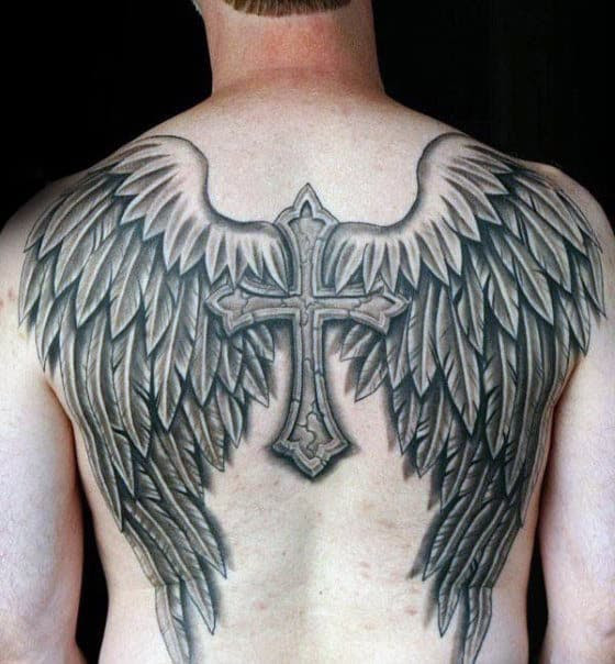 3d Cross Angel Wings Mens Back Tattoo
