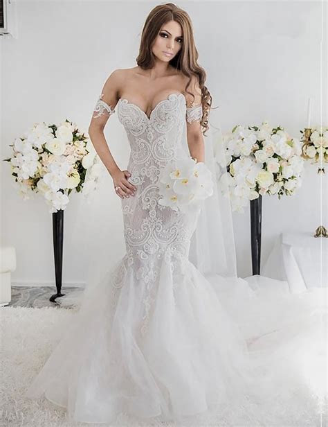 Charming Mermaid Style Off the Shoulder Sweep Train Lace