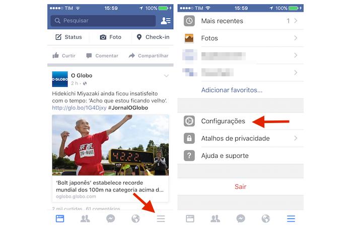 Acessando as configurações do Facebook para iPhone (Foto: Reprodução/Marvin Costa)