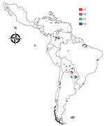 Thumbnail of Geographic distribution of TcII, TcIII, TcV, and TcVI Trypanosoma cruzi clones, South America, 2002–2010. A total of 57 T. cruzi biologic clones were assembled for analysis. Of these, 24 were isolated from humans; triatomine vectors (Panstrongylus geniculatus, Rhodnius prolixus, and Triatoma venosa insects); and sylvatic mammalian hosts (Dasypus spp. armadillos) in Antioquia, Boyaca, and Casanare Departments in northern Columbia. The remaining 33 were reference clones derived from a