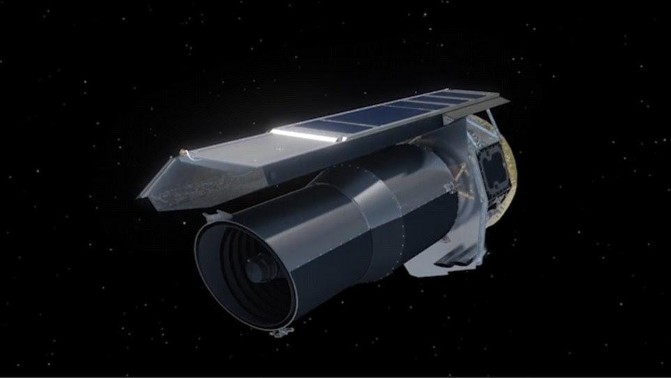 Os astrônomos usaram uma série de telescópios terrestres e espaciais para encontrar os novos planetas.  Eles mediram o escurecimento da luz da estrela Trappist-1 do sistema como cada planeta orbitava na frente dele.  Esta imagem mostra o telescópio espacial da NASA Spitzer usado pela equipe, que faz exame de leituras claras estelares da órbita da terra