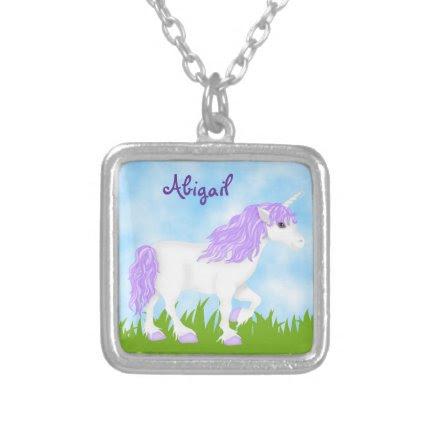 Cute Personalized Purple Unicorn Necklace