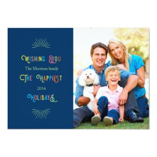 Colorful Happiest Holidays Photo Card