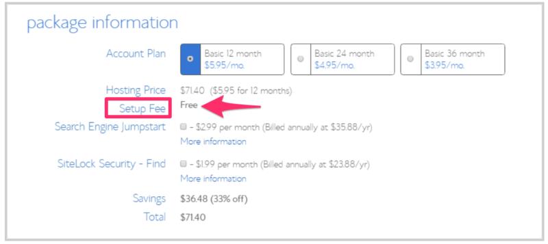 Web Hosting Setup Fees