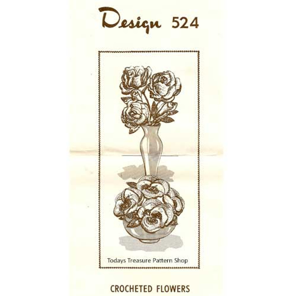 Vintage Crochet Stemmed Flowers Pattern Design 524