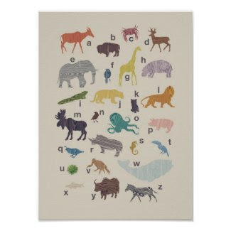 Alphabet Wood Grain Animal Poster