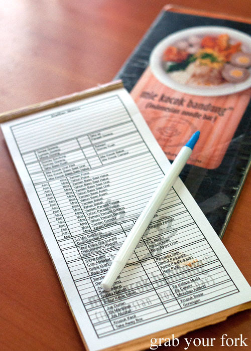 diy order notepad at mie kocok bandung indonesian noodle restaurant maroubra