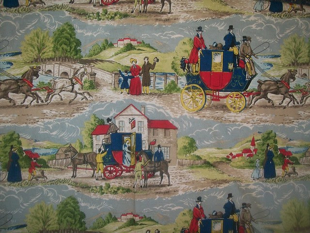 Vintage Barkcloth Carriage Novelty  Print