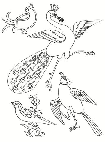 芸術効果のある鳥 ぬりえ