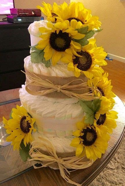3 tier sunflower diaper cake   Baby Shower   Pinterest