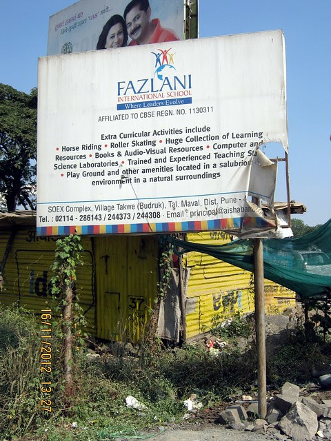 Fazlani International School at Takwe Budruk Maval - board on Old Mumbai Pune Highway - N H 4