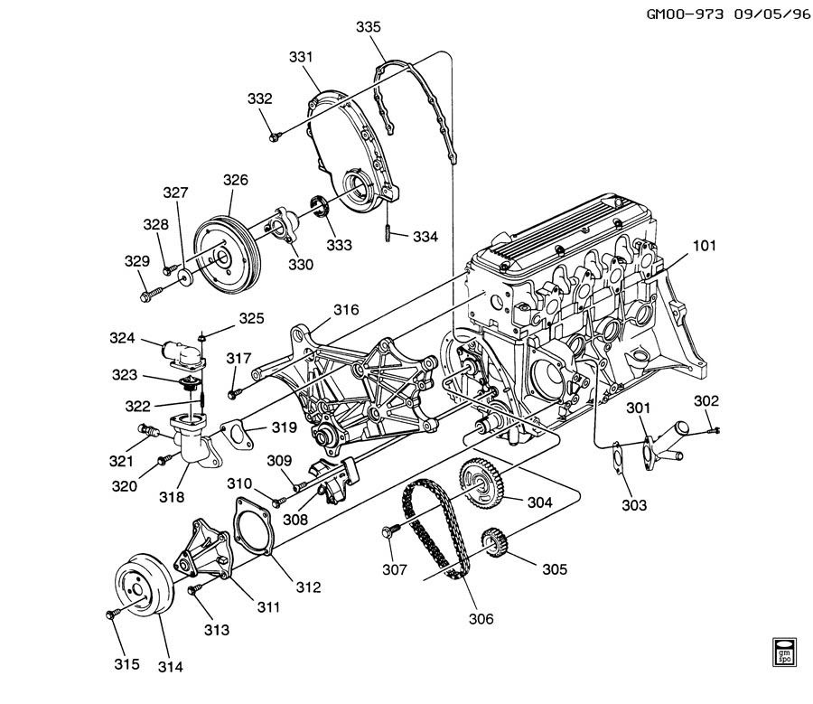 ENGINE ASM-2.2L L4 PART 3 FRONT COVER & COOLING RELATED PARTS