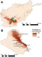 Thumbnail of Results of ecologic niche modeling in Afghanistan, 2009–2011 (A), and projection of findings onto Iraq (B). Darker red indicates areas estimated to have higher probability of mold presence based on the environmental conditions of mold contamination locations in Afghanistan (green circles).