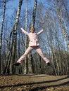 Jump girl in park