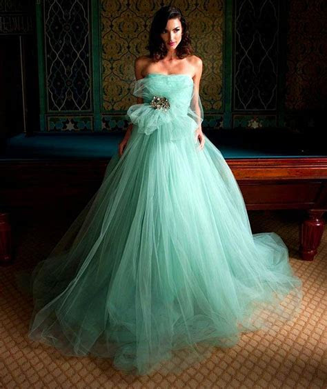 Hot Mint Green Tulle Wedding Dresses 2016 A Line Strapless