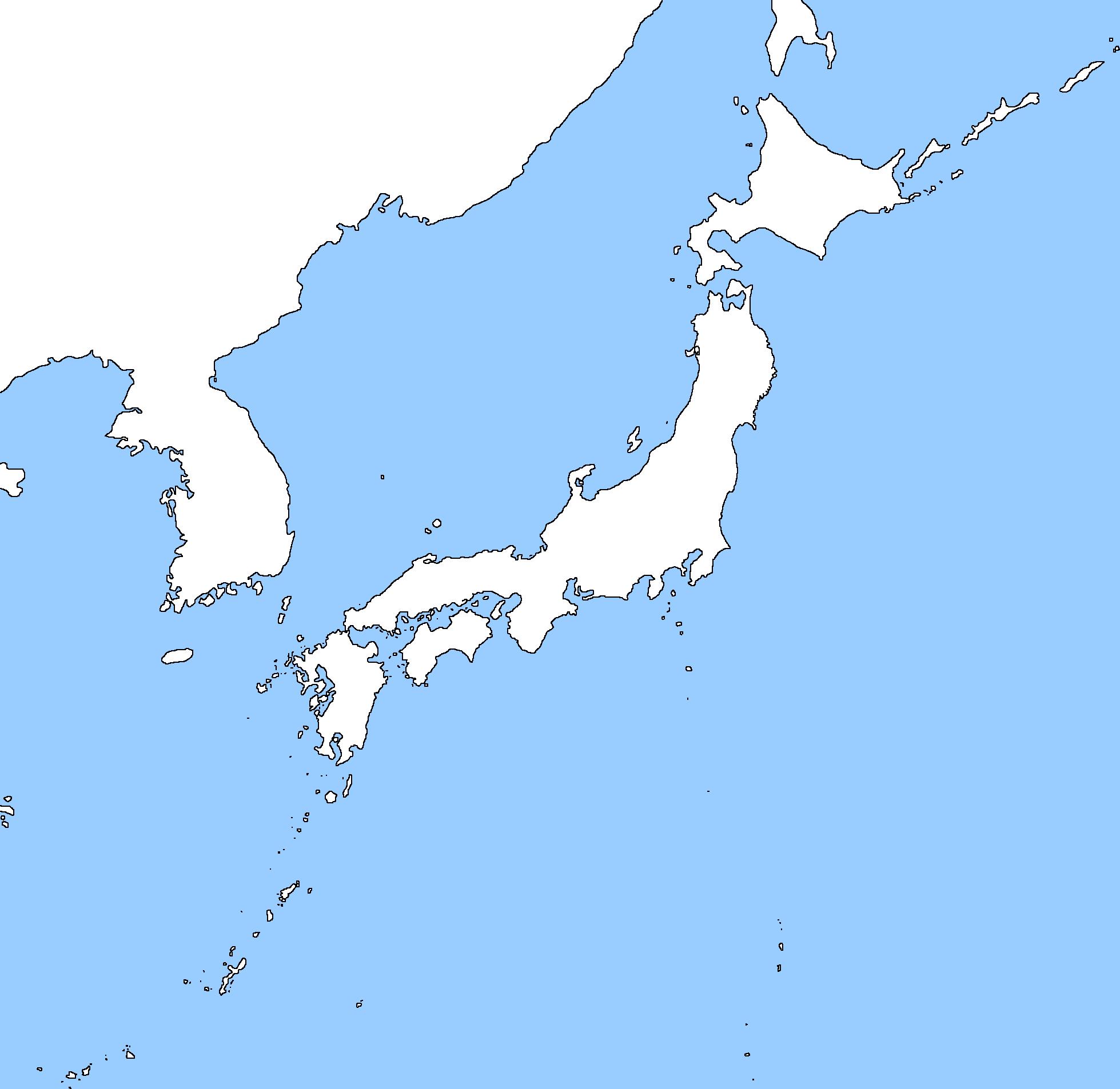 Blank map of japan and korea – cbyg