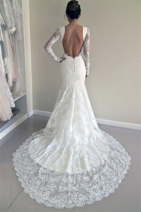 Long Sleeves Open Back Lace Wedding Dress,Beach Wedding
