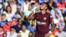 Indosport - Selebrasi Paulinho usai mencetak gol kemenangan bagi Barcelona.