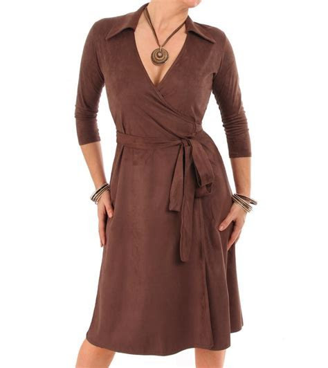 Chocolate Brown Faux Suede Wrap Dress