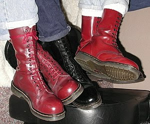Cherry Red and Black 14-hole Dr. Martens boots