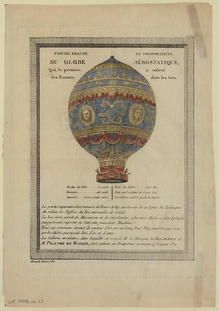 Figure exacte et proportions, du globe aërostatique, qui, le premier, a enlevé des hommes dans les airs