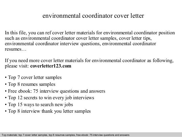 Environmental Coordinator Cover Letter