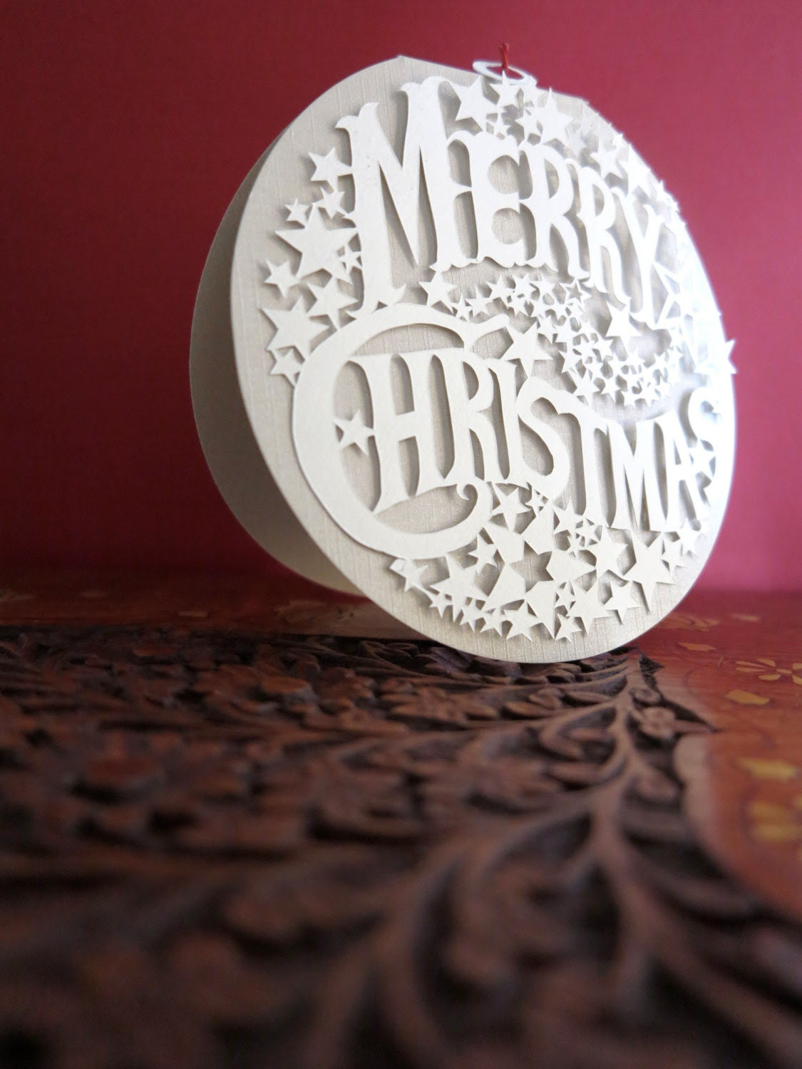 Merry christmas handmade papercut greetingcard - Christmas greeting card  and gift in one - Christmas pendant - Christmas papercut giftpa