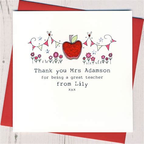 personalised apple teacher thank you card by eggbert