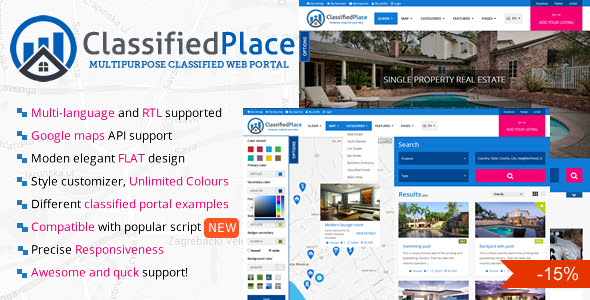 Real Estate Geo Classified Ads Html Template