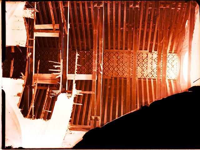 Artesonado de Santiago del Arrabal.   Fotografía de Pedro Román © Fondo Rodríguez. Archivo Histórico Provincial. JCCM. Signatura R-131-1-08