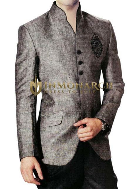 Mens Gray Linen 2 Pc Jodhpuri Suit Open Neck   InMonarch