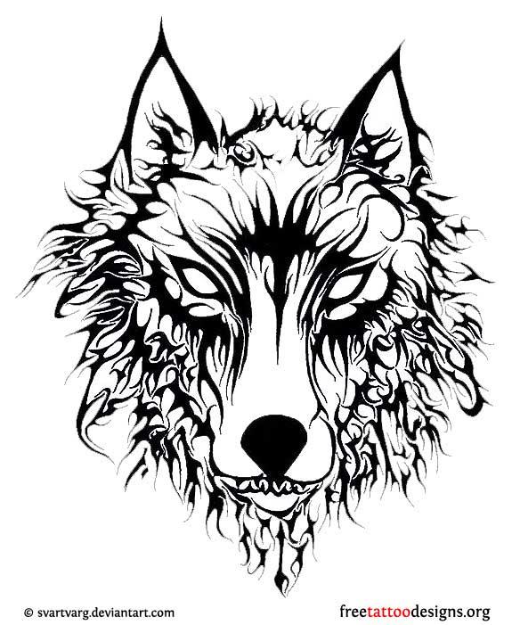 Evil Tribal Wolf Head Tattoo Design