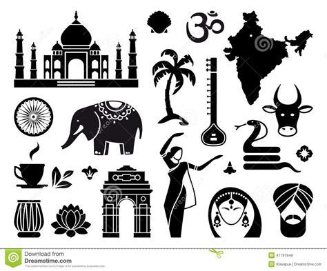 Icons of India stock vector. Illustration of drum, lotus